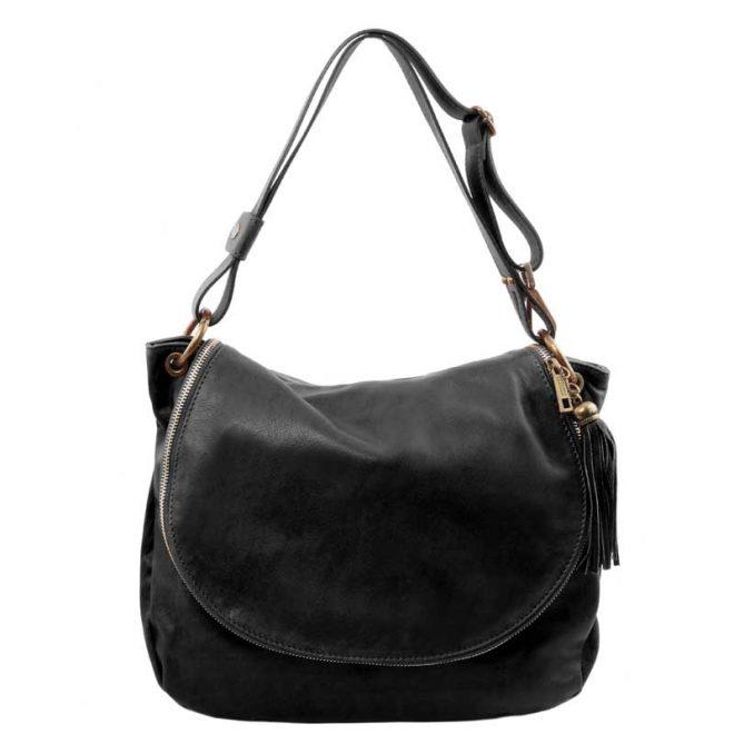 Leren-damestas-TL-bag-10-zwart-voorkant