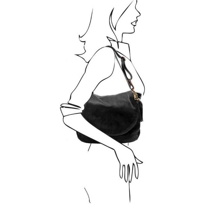 leren damestas tl bag 30 zwart schoudertas
