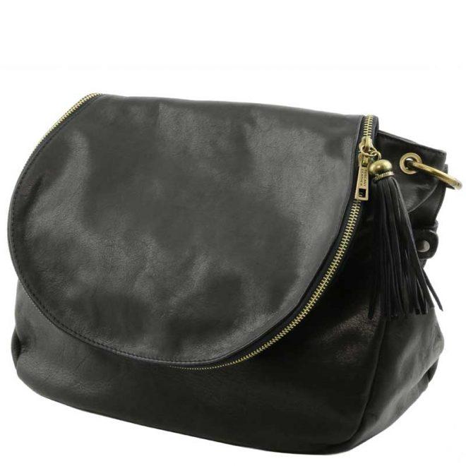leren damestas tl bag 30 zwart zijkant