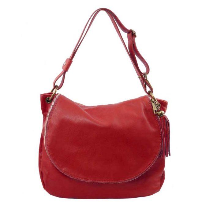 Leren-damestas-TL-bag-10-rood-voorkant