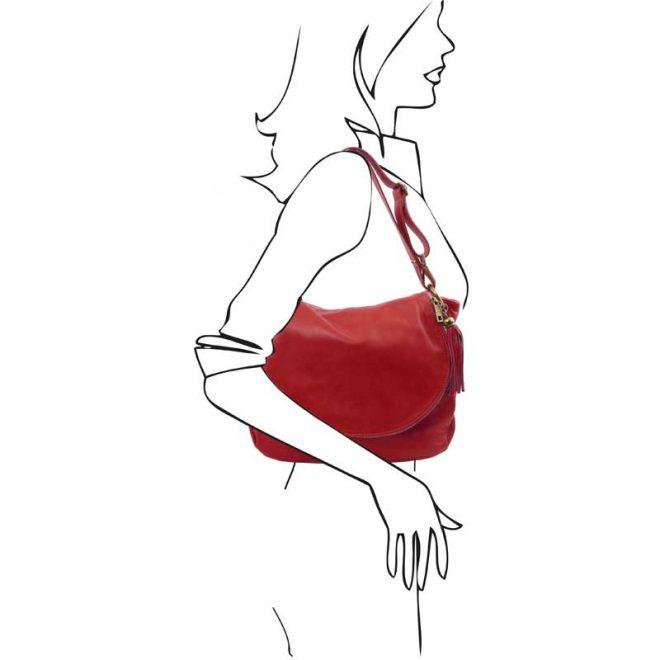 Leren-damestas-TL-bag-10-rood-schouder