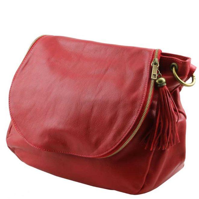 leren damestas tl bag 30 rood zijkant