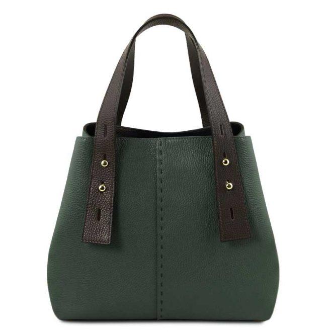leren damestas tl bag 30 groen voorkant