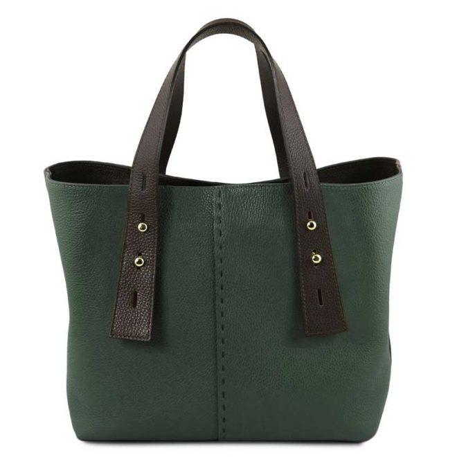 leren damestas tl bag 30 groen uitgevouwen