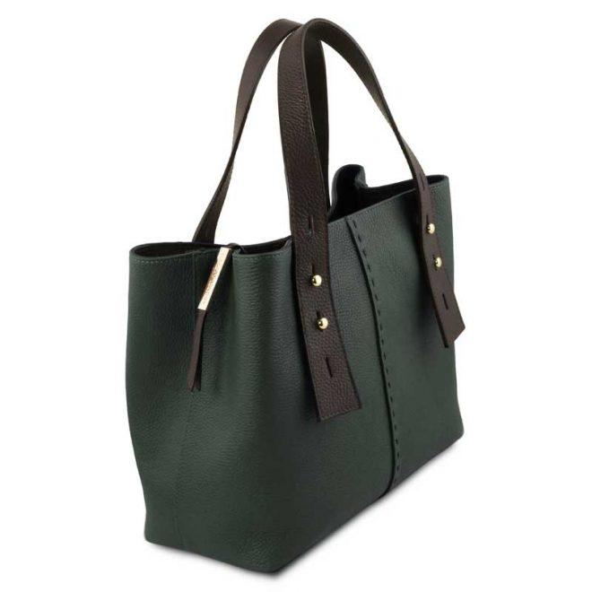 leren damestas tl bag 30 groen zijkant