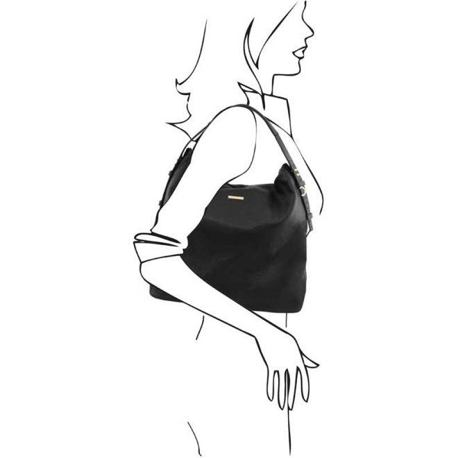 leren damestas tl bag 84 zwart schoudertas
