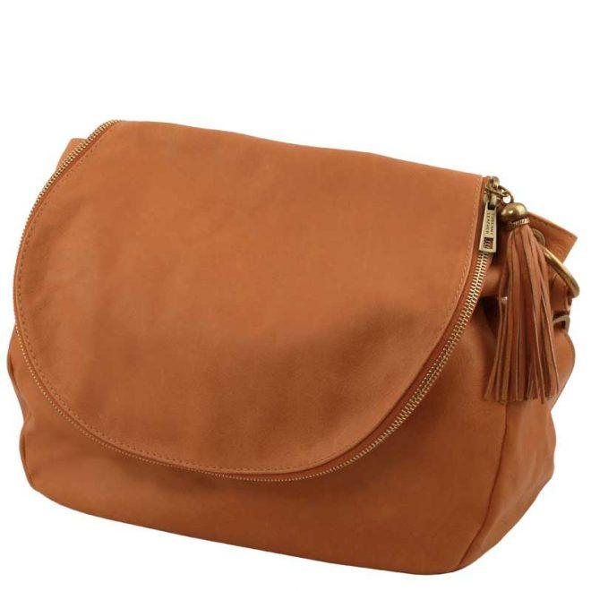Leren-damestas-TL-bag-10-cognac-zijkant