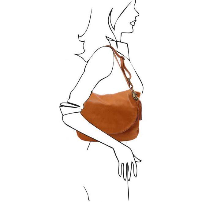 leren damestas tl bag 10 cognac schoudertas