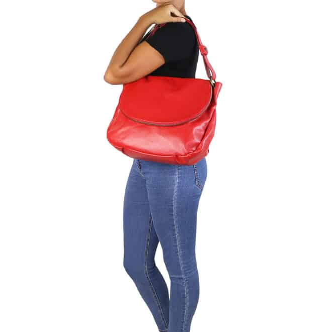 leren damestas tl bag 10 rood schoudertas
