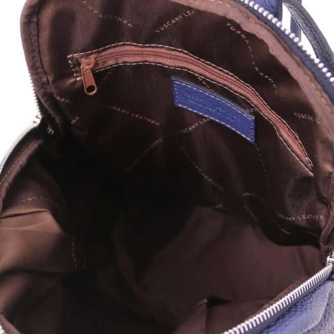 leren rugtas dames tl bag 82 blauw binnenkant