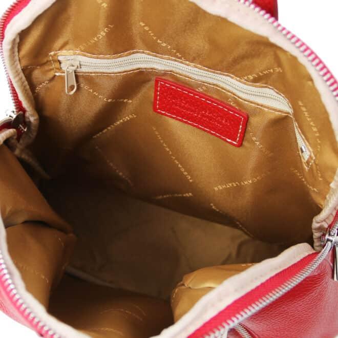 leren rugtas dames tl bag 82 rood binnenkant