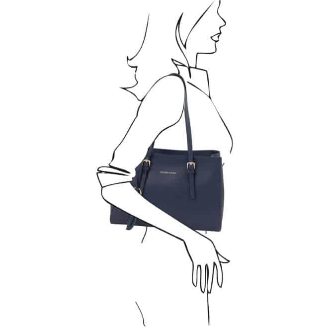 leren damestas tl bag 37 blauw schoudertas