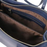 leren damestas tl bag 37 blauw vak met rits
