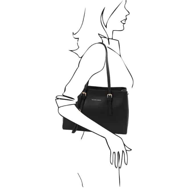 leren damestas tl bag 37 zwart schoudertas