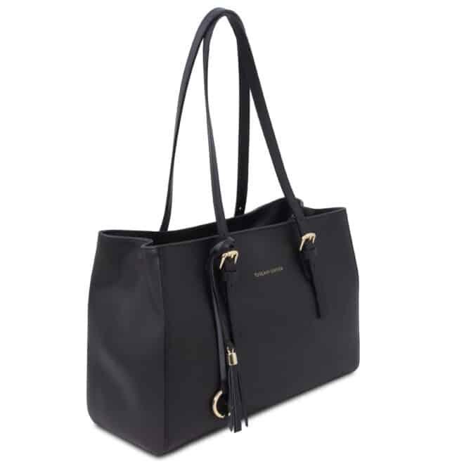 leren damestas tl bag 37 zwart zijkant