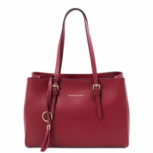 leren damestas tl bag 37 rood voorkant