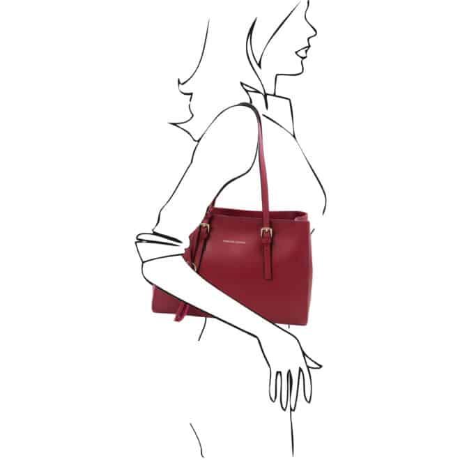 leren damestas tl bag 37 rood schoudertas