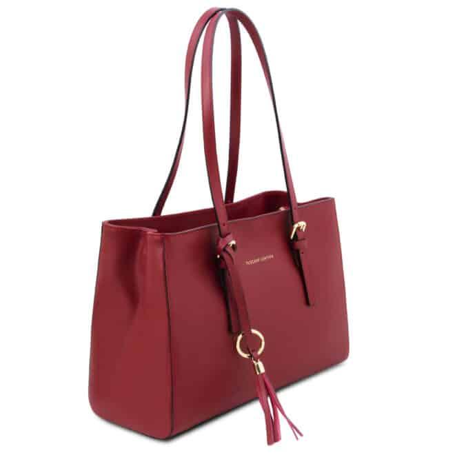 leren damestas tl bag 37 rood zijkant