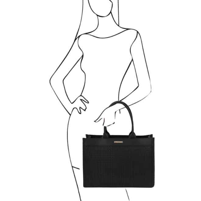 leren damestas tl bag 24 zwart handvatten