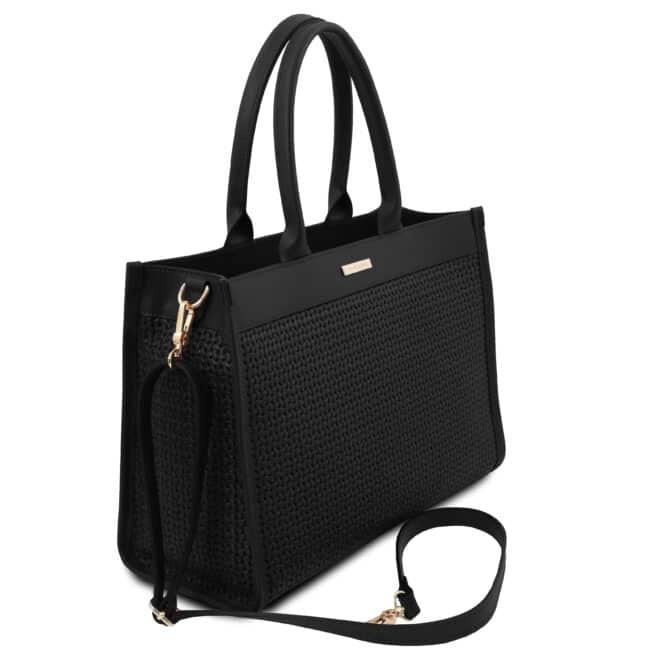 leren damestas tl bag 24 zwart zijkant