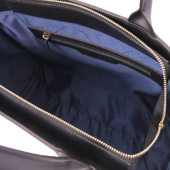 leren damestas tl bag 24 zwart binnenvak met rits