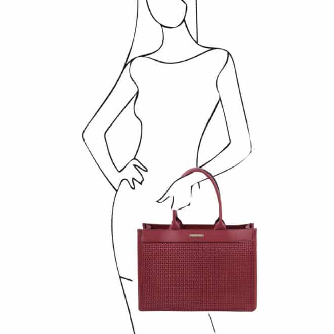 leren damestas tl bag 24 rood handvatten