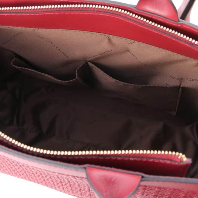 leren damestas tl bag 24 rood open vakken