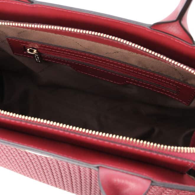 leren damestas tl bag 24 rood binnenvak met rits