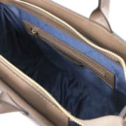 leren damestas tl bag 24 taupe binnenvak met rits