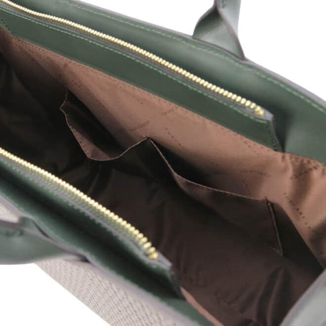leren damestas tl bag 24 groen open vakken