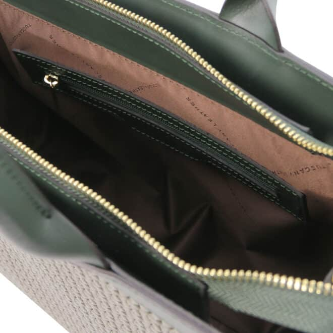 leren damestas tl bag 24 groen binnenvak met rits
