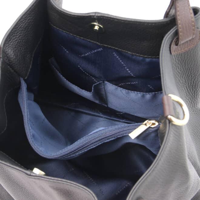 leren damestas tl bag 40 zwart binnenkant