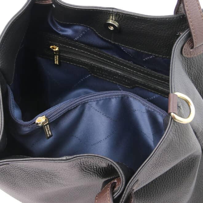 leren damestas tl bag 40 zwart binnenvak met rits