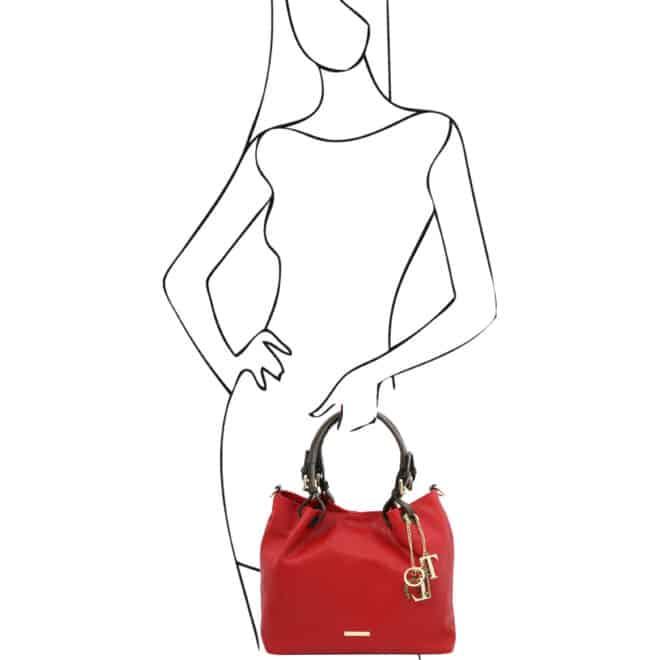 leren damestas tl bag 40 rood handvatten