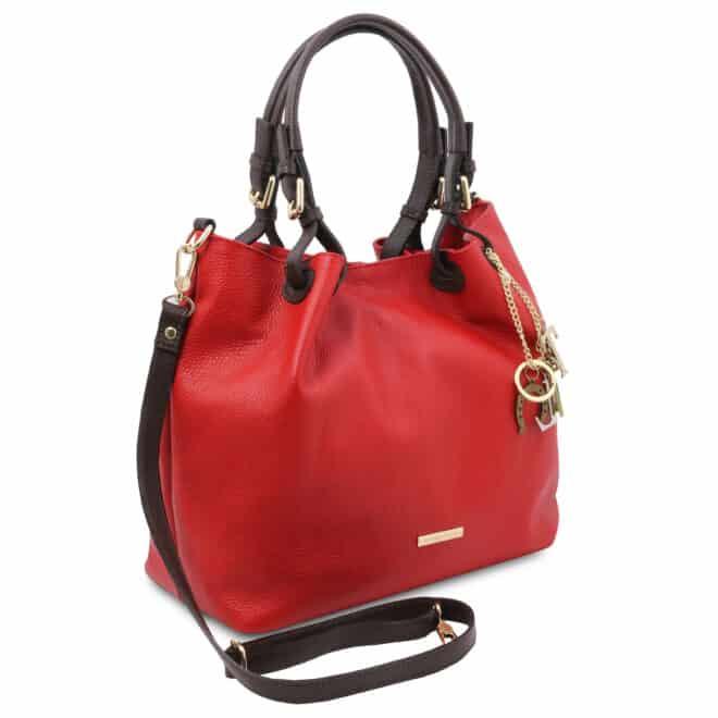 leren damestas tl bag 40 rood zijkant