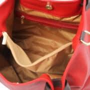 leren damestas tl bag 40 rood binnenvak met rits