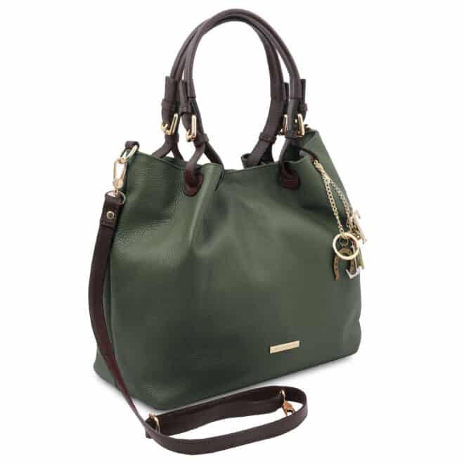 leren damestas tl bag 40 groen zijkant