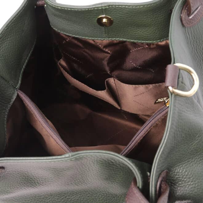 leren damestas tl bag 40 groen binnenkant
