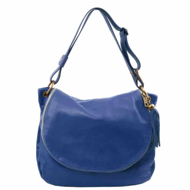 leren damestas tl bag 10 blauw voorkant