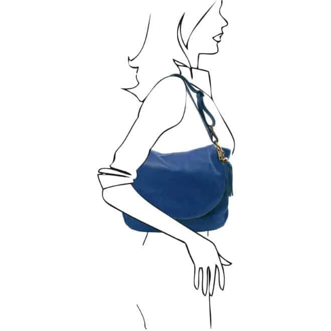 leren damestas tl bag 10 blauw schoudertas