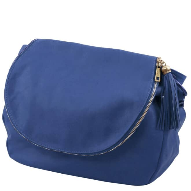 leren damestas tl bag 10 blauw zijkant