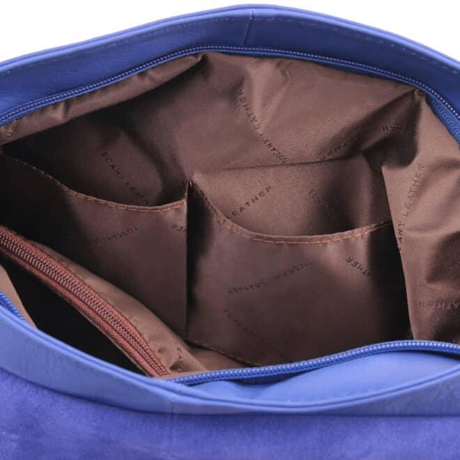 leren damestas tl bag 10 blauw open vakken binnenkant