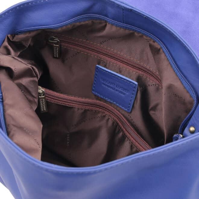 leren damestas tl bag 10 blauw vak met rits