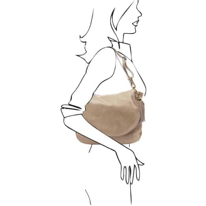 leren damestas tl bag 10 taupe schoudertas