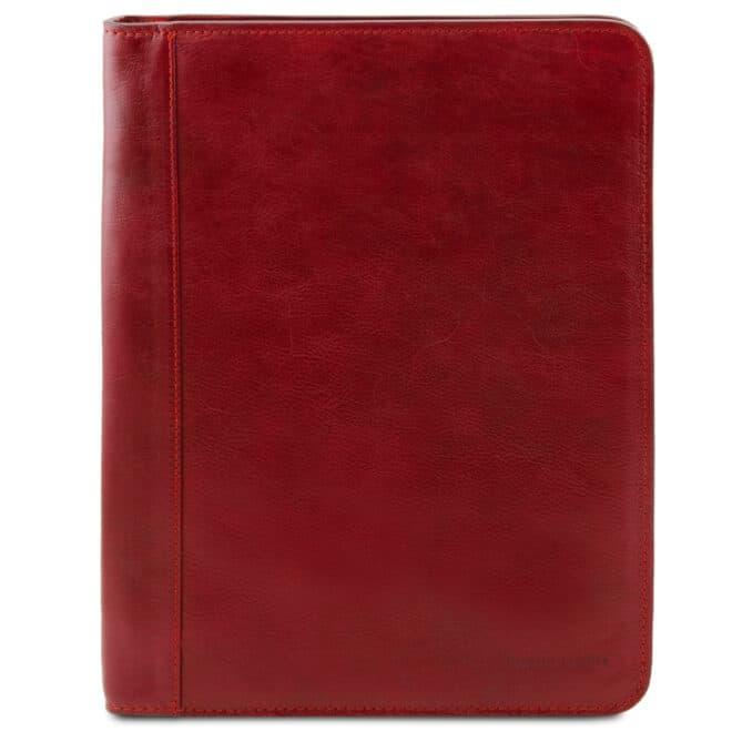 a4 leren schrijfmap Luigi XIV rood voorkant