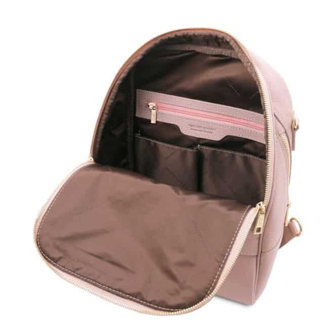 leren rugtas tl bag 76 roze binnenkant