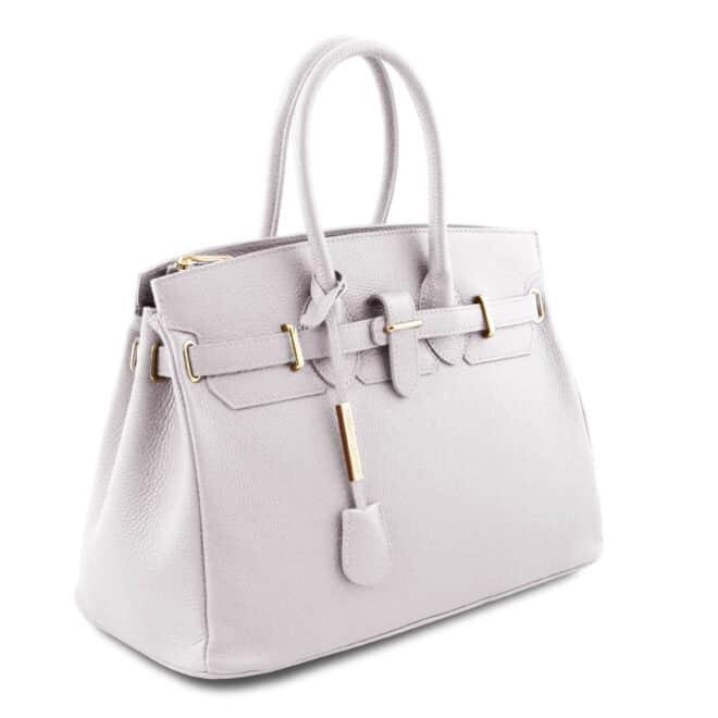 leren dames handtas tl bag 29 wit zijkant