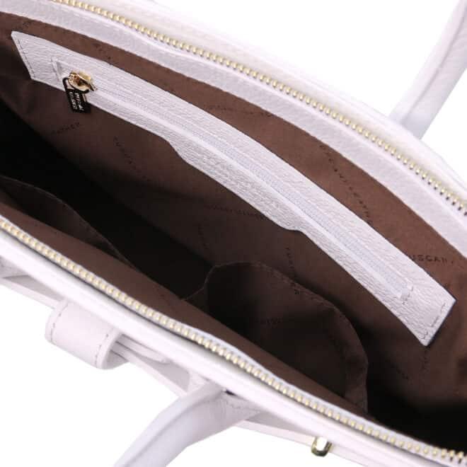 leren dames handtas tl bag 29 wit vak met rits