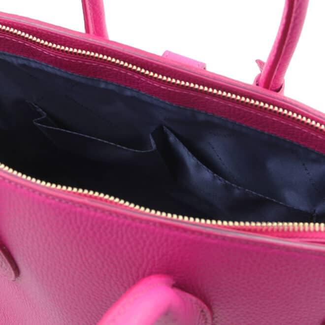 leren dames handtas tl bag 29 fuchsia binnenkant