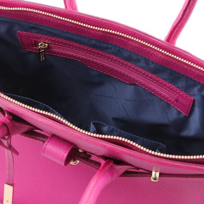 leren dames handtas tl bag 29 fuchsia vak met rits